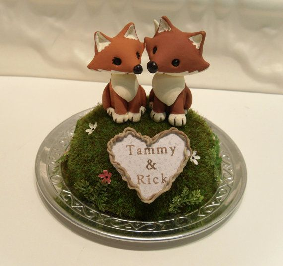 Woodland Foxes Wedding Cake Topper - Non Refundable Deposit for Made to order - Personalize with Names or Initials. $50.00, via Etsy.