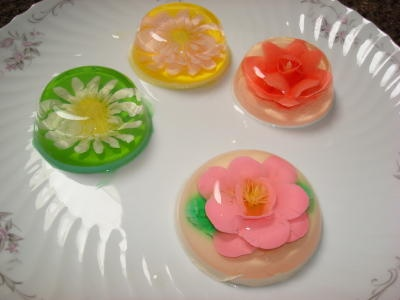 Hand created JELLO flowers for tea with champagne and lemonade!