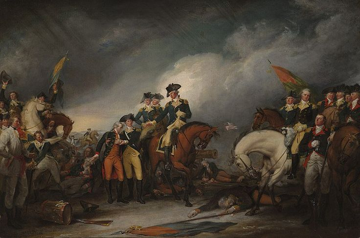 """The Capture of the Hessians at Trenton, December 26, 1776"" . In the center of the painting, Washington is focused on the needs of the mortally wounded Hessian Colonel Johann Rall. On the left, the severely wounded Lieutenant James Monroe is helped by Dr. John Riker."