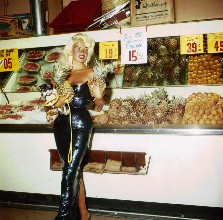 Jayne Mansfield grocery shopping in Las Vegas, 1959 (unpublished photos printed from the original negatives from my personal collection—best viewed...