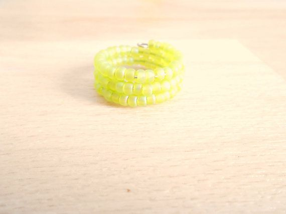 Matte Lime AB Seed Bead Ring  Memory Wire Ring  by SkadiJewelry