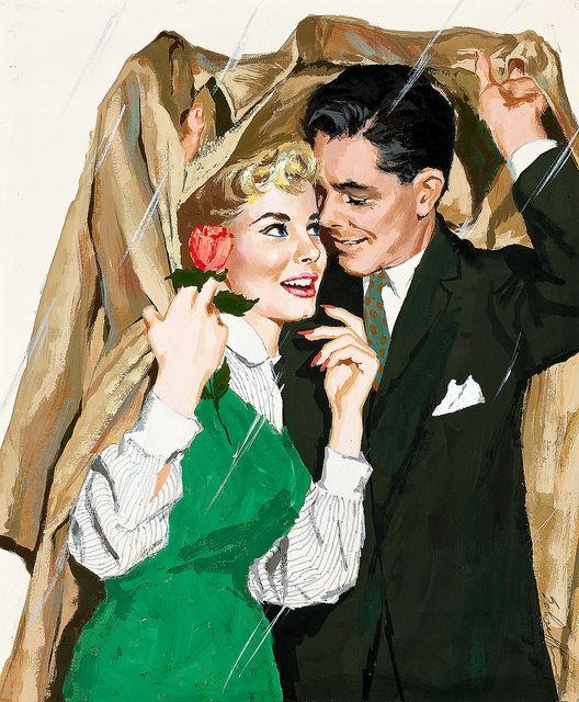 How romantically lovely! #vintage #couple #1950s #art #rain #spring: Vintage Couple, Vintage Illustrations, Jim Schaef, Vintage Romances, Nostalgia Vintage Retro, 1950S Couple, Pin Up, Romances Novels, Vintage Art