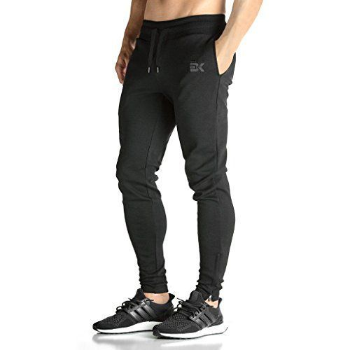BROKIG Mens ZIP JOGGER Pants - Casual GYM Fitness Trousers Comfortable Tracksuit Slim Fit Bottoms Sweat Pants with Pockets (M Black)