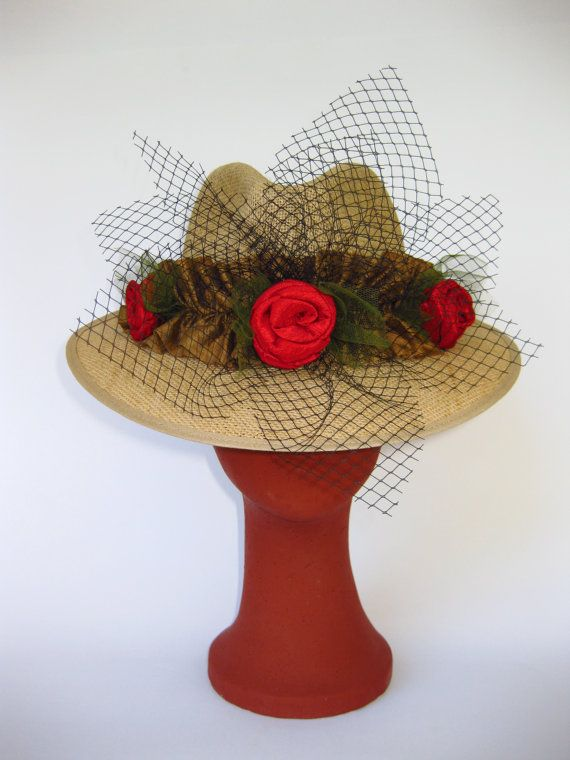 Handmade Linen 100% Natural Straw with veil and roses.