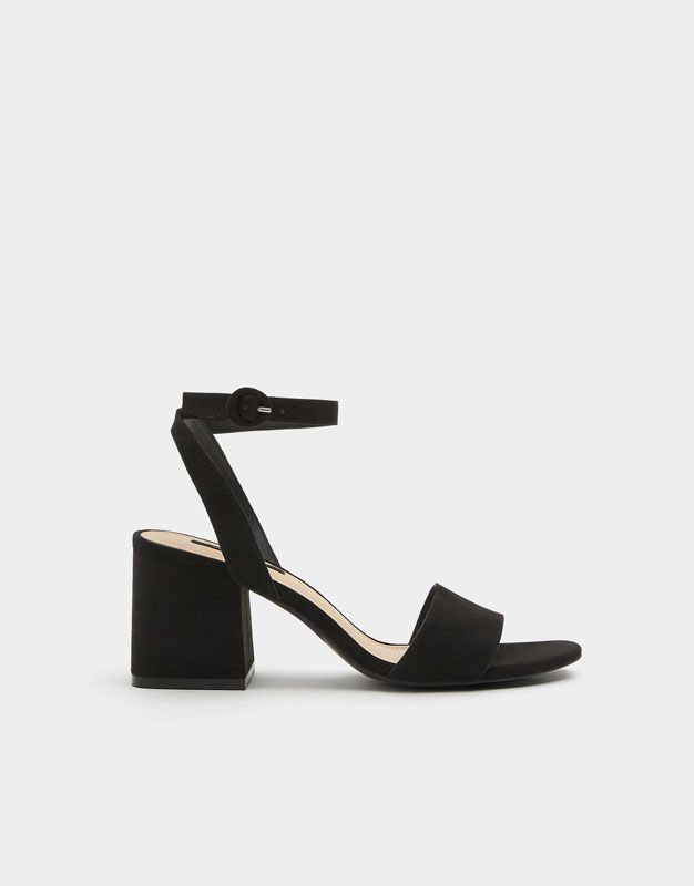 Medio De Sandalia Pulsera Zapatos Tacón Negra m8wnvN0