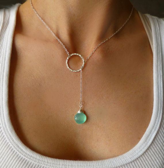 Aqua Chalcedony Silver Lariat Necklace - Modern Gemstone Necklace - Trendy Hoop Necklace - Chalcedony Necklace - Elegant Tear Drop Necklace. $38.00, via Etsy.