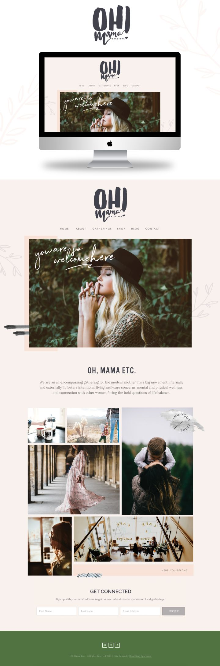 Web Design + Branding by Lindsey Eryn Clark of Third Story Apartment.   _ Mommy blog, mom blogger, community groups for mom, community, blog inspiration, squarespace website, squarespace inspo, feminine branding, website inspo, website inspiration, graphic design, graphic design inspo, modern web design, clean web design, hunter green website, illustration in website