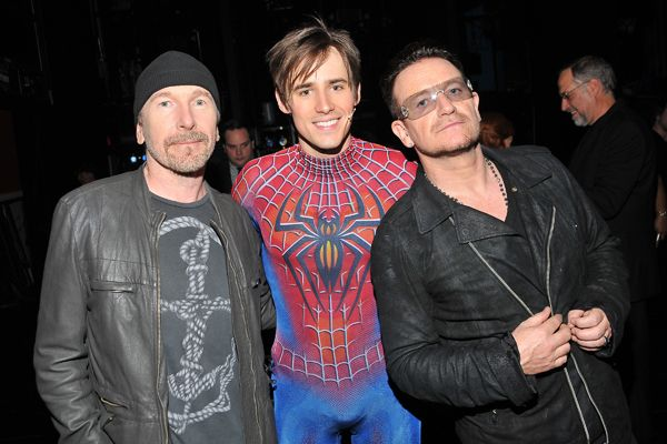 The Edge, Reeve Carney and Bono.