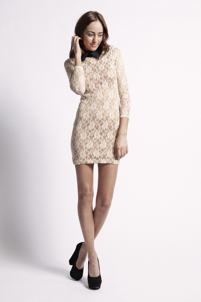Kayla Dress  Lace over nude lining dress  Gold tipped black collar