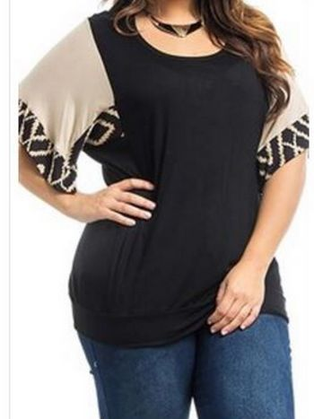 Plus Black Top With Beige Chevron Sleeves #black #dressy #plus