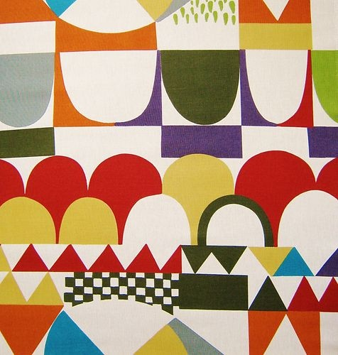 scandinavian fabric Josef Frank Bows 50s 60s vtg