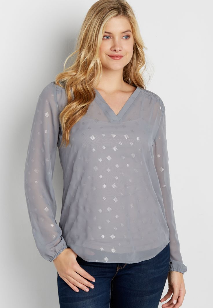 the perfect blouse with smocked yoke in metallic diamond print