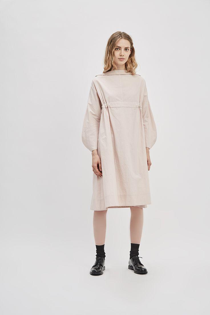 Pink Crinkle Cotton Poplin Sculpted Sleeve Adjustable Dress | Made in New York | DE SMET
