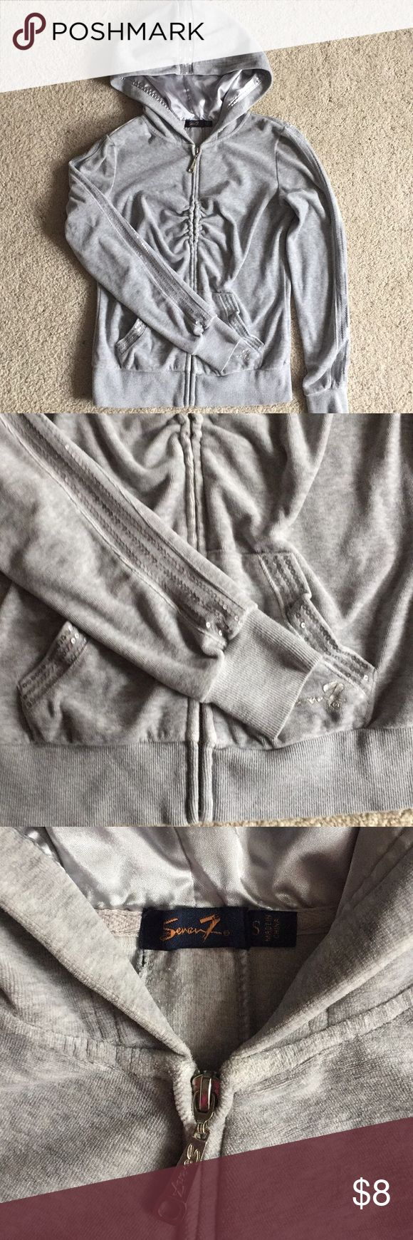 Seven7 Silver hoodie Seven7 silver hoodie zips up. In good condition. No flaws siZe Small Seven7 Jackets & Coats