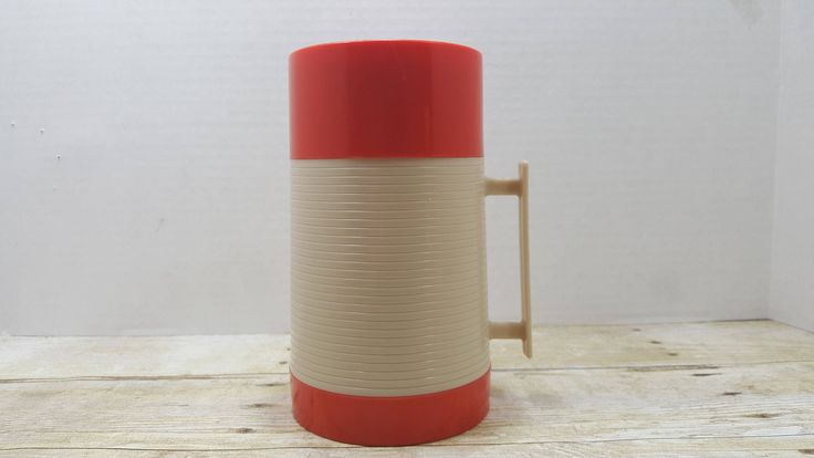 Aladdin Thermos Hy Lo Thermos, Red and white thermos 1970s by RandomGoodsVintage on Etsy