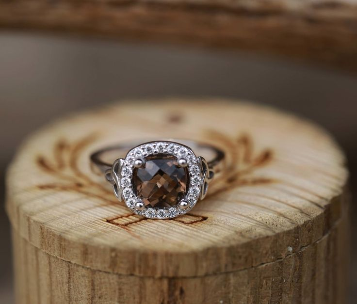 Beautiful K WHITE GOLD ENGAGEMENT RING WITH A SMOKEY QUARTZ AND CELTIC KNOT DETAIL available in white yellow u rose gold