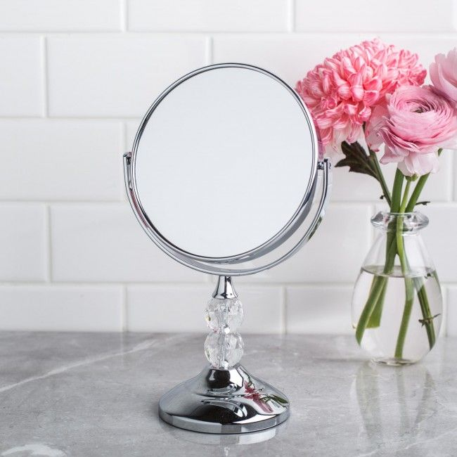 Always look your best with this countertop mirror with 5x magnification. This simple countertop mirror features 5x magnification for easy grooming and makeup application.