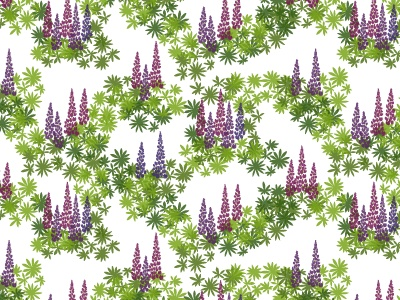 Margareta pattern with lupins in shades of purple inspired by the Swedish nature.  www.formstigen2a.se/pattern
