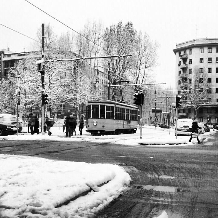 Corso Sempione, Milano. Tram in the Snow