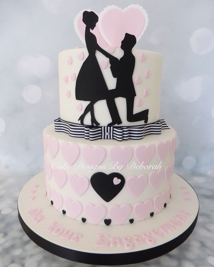 Silhouette Engagement Cake By : Cake Designs By Deborah