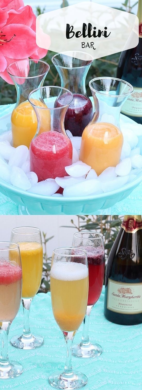 This fresh fruit puree Bellini Bar is perfect for brunch or a bridal shower!