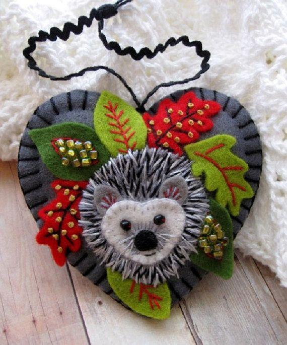 Holiday Hedgehog Ornament ♡ by SandhraLee on Etsy