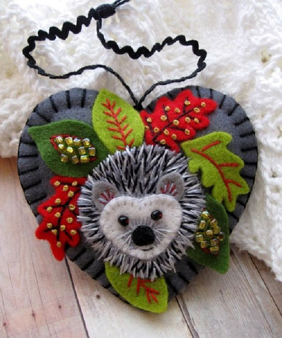 Holiday Hedgehog Ornament ♡ by SandhraLee on Etsy