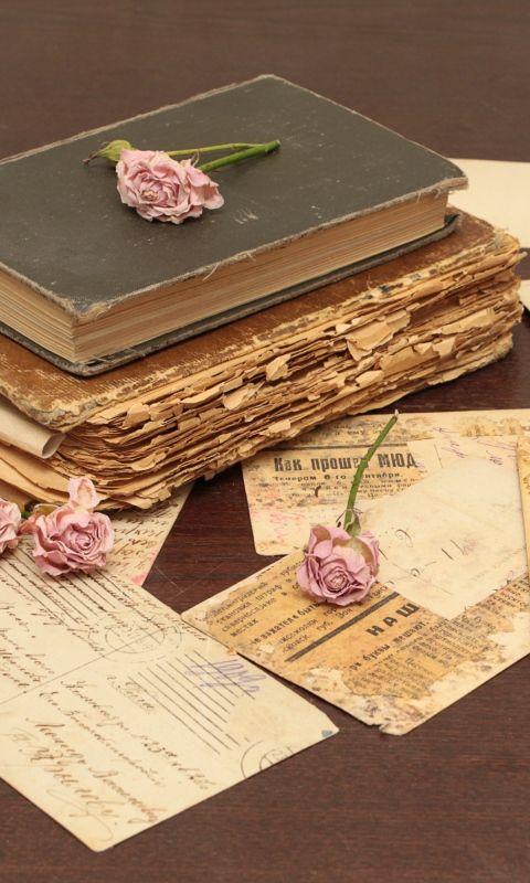 480x800 Wallpaper vintage, books, old, flowers, roses, candles, candle holders, letters, cards, paper, table
