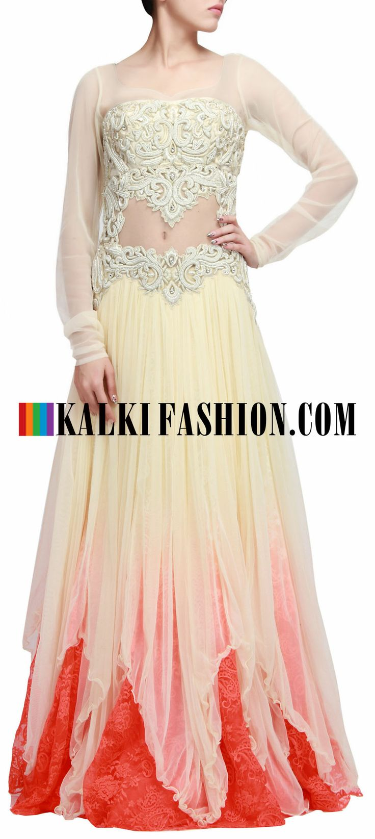 Buy Online from the link below. We ship worldwide (Free Shipping over US$100) http://www.kalkifashion.com/cream-gown-featuring-with-stone-and-zari-embroidered-bodice-only-on-kalki.html Cream gown featuring with stone and zari embroidered bodice only on Kalki