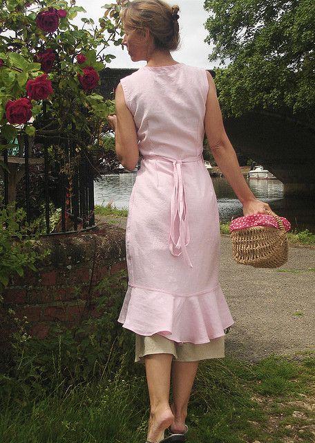 """""""Verity Hope Sleeveless Wrap Dress"""" in pink linen, by Malphi (Susannah Dashwood), 2009"""