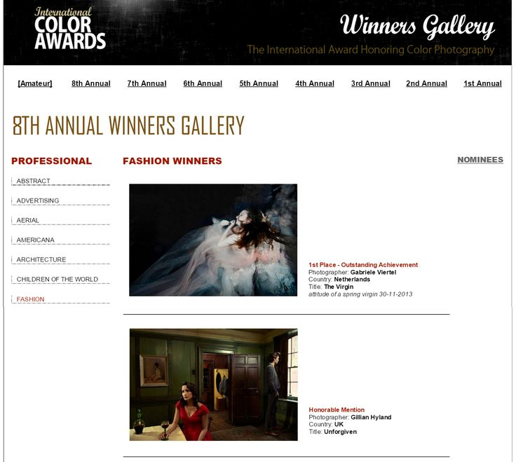 'Unforgiven' received an honourable mention in the fashion category of International Color Awards. http://www.colorawards.com/colormasters/index.php?rohid=17