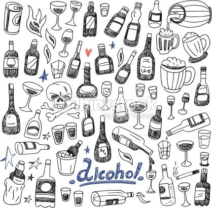 Clipart vectoriel : Doodle Bottles,Alcohol