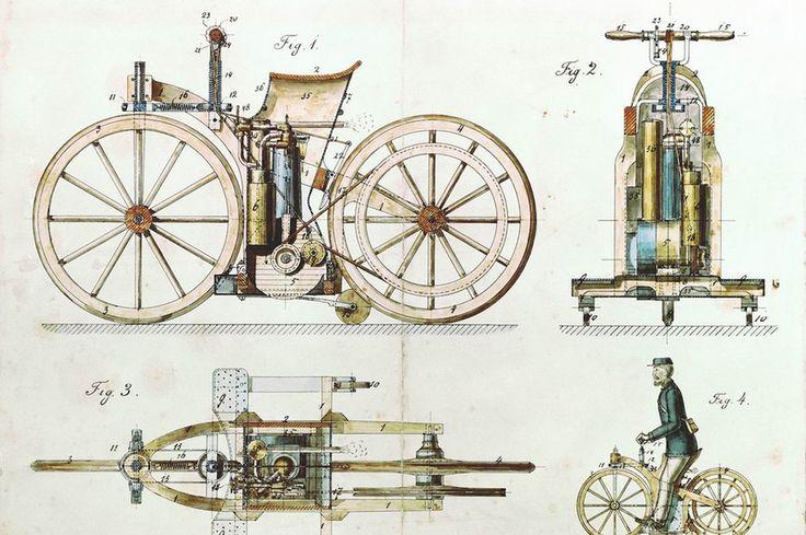 Einen Großteil der technischen Zeichnungen für den Reitwagen steuerte Wilhelm Maybach bei, der die Ideen von Gottlieb Daimler bildlich umsetzte. © Daimler