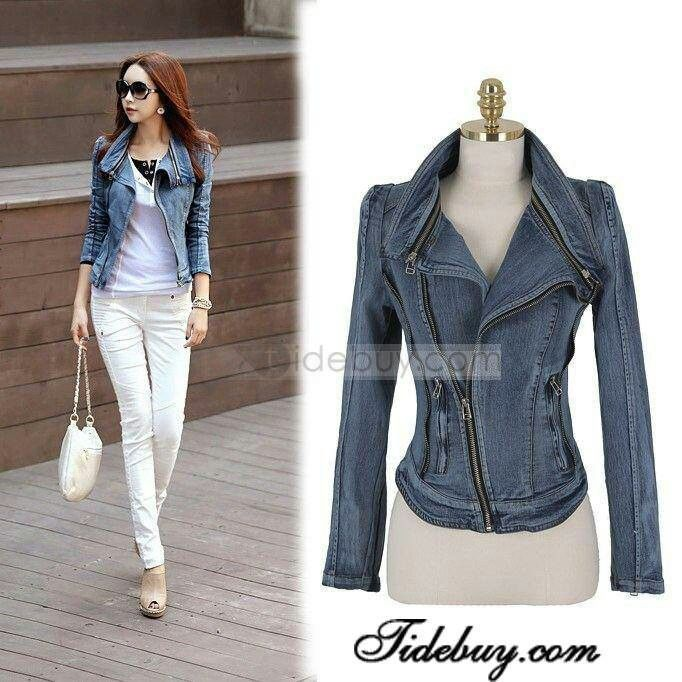 New Arrival Fashion Zipper Slim Jean Jacket