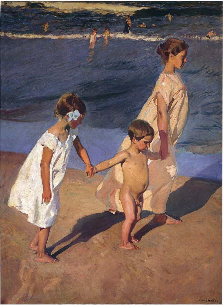 """joaquín sorolla y bastida - """"to the water, valencia"""", 1908, oil on canvas."""