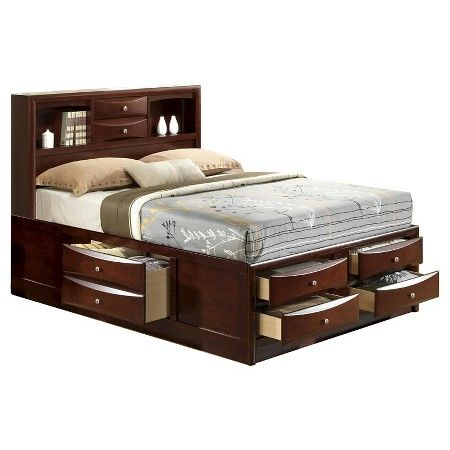 Claire Rich Espresso Queen 6 Drawer Storage Bed With Bookcase Headboard : Target