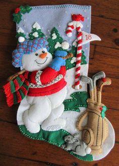 Bucilla Golf muñeco de nieve de 18 por MissingSockStitchery en Etsy