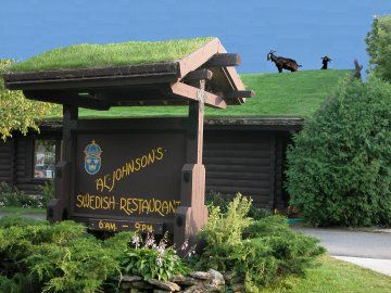 Al Johnsons Swedish Restaurant in Sister Bay, Wisconsin. Love the goats on the roof!