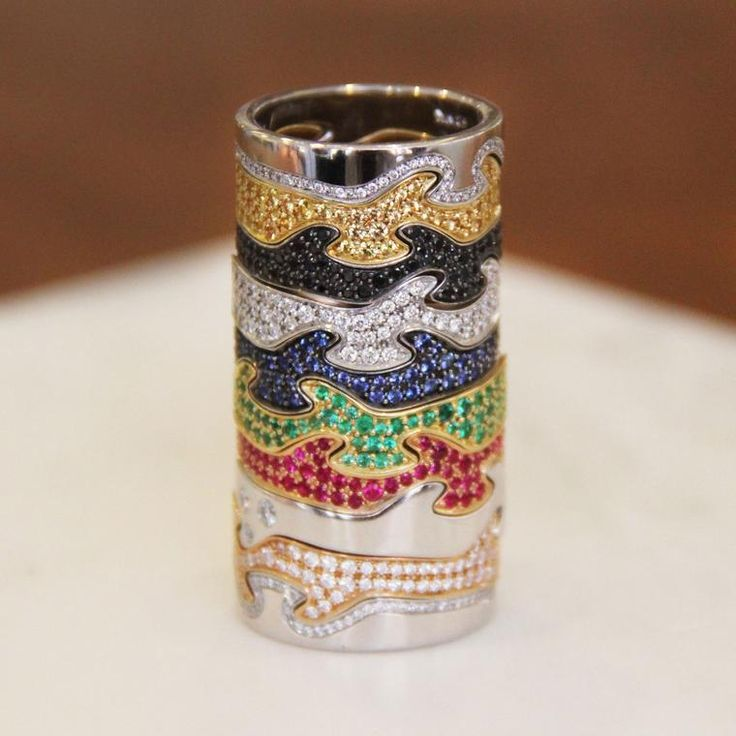 A stylish stack of multicoloured Georg Jensen Fusion rings laden with gemstones. Enter our competition for a chance to win $3,000 worth of Georg Jensen jewels. http://www.thejewelleryeditor.com/jewellery/article/georg-jensen-fusion-ring-competition/ #jewelry