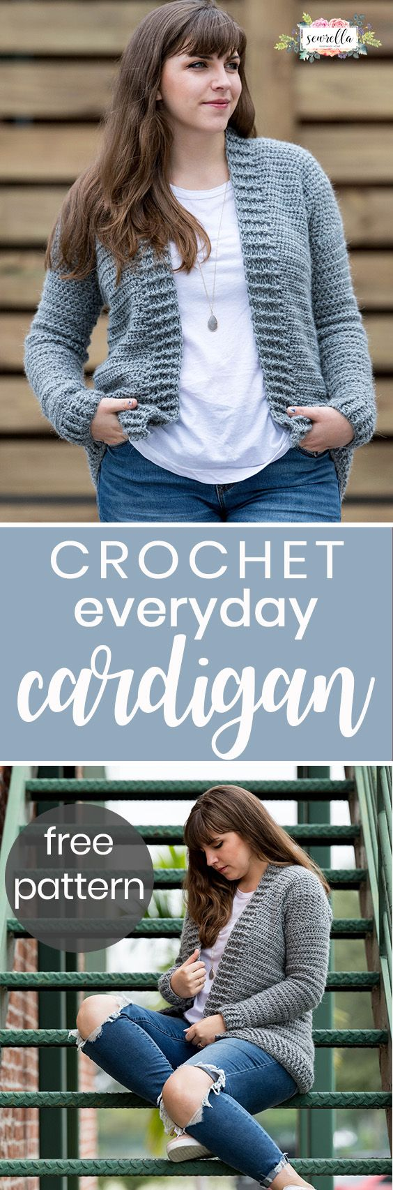 Crochet the easy everyday cardigan with all half double and double crochets! Sizes XS-3XL included in this free sweater pattern