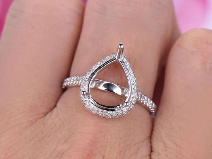 Diamond Engagement Semi Mount Ring 14K White Gold Setting Pear 10x12mm,Two side Diamond halo