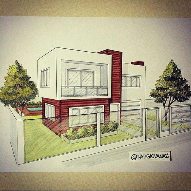 Vista perspectivada feito por @natigiovanaz #Croqui #croquideArquitetura…
