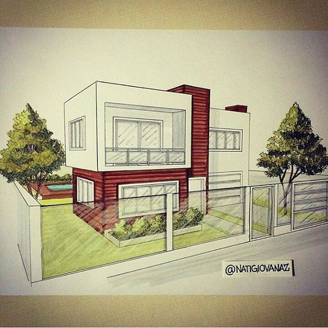 25 best ideas about house sketch on pinterest house for Casas pintadas modernas