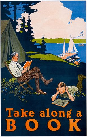 Take along a book. This vintage print shows a father and son reading while on a camp out. Circa 1910.