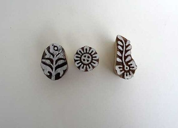 Set of 3 small Indian wood stamps  30 by IndianCraftsBazaar