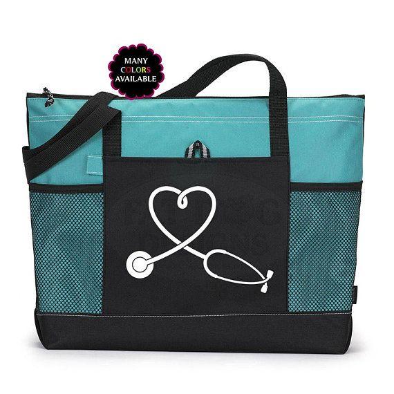 Customized Nurse Tote Bag School Work Zippered Nursing School Student Nurse Great Gift Idea Lots of Colors