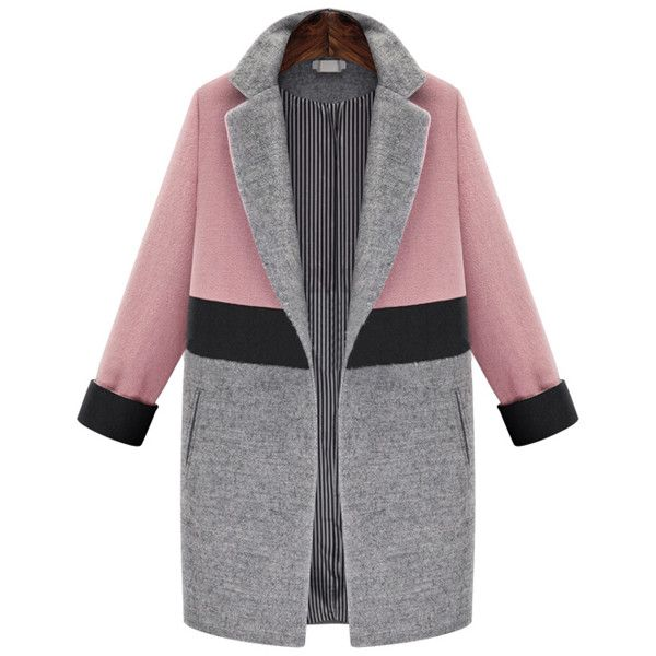 SheIn(sheinside) Pink Grey Lapel Pockets Woolen Coat ($53) ❤ liked on Polyvore featuring outerwear, coats, cappotti, jackets, multi, grey coat, colorblock coat, long lapel coat, long wool coat and long grey coat