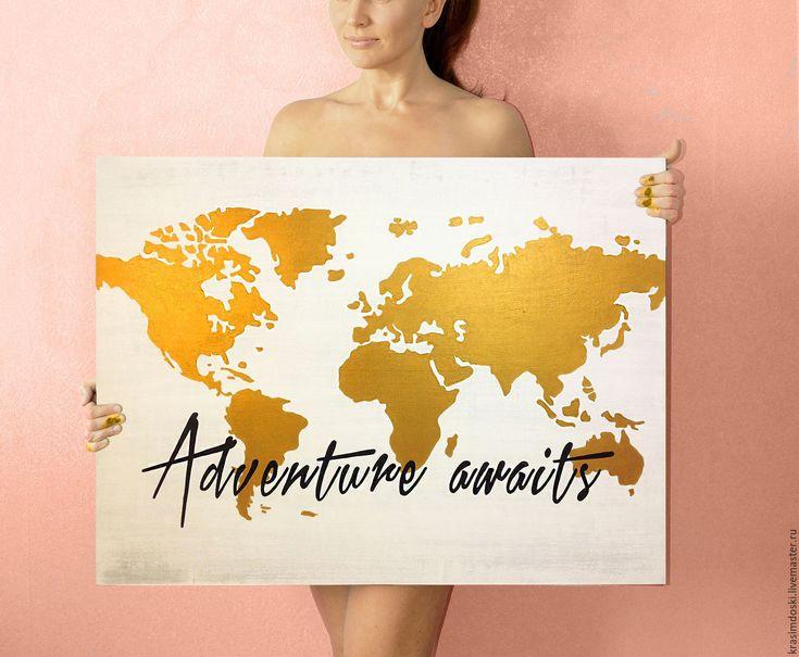 """Купить Панно """"Карта мира-2"""" табличка интерьерная вывеска - золотой, белый, приключение, путешествие"""