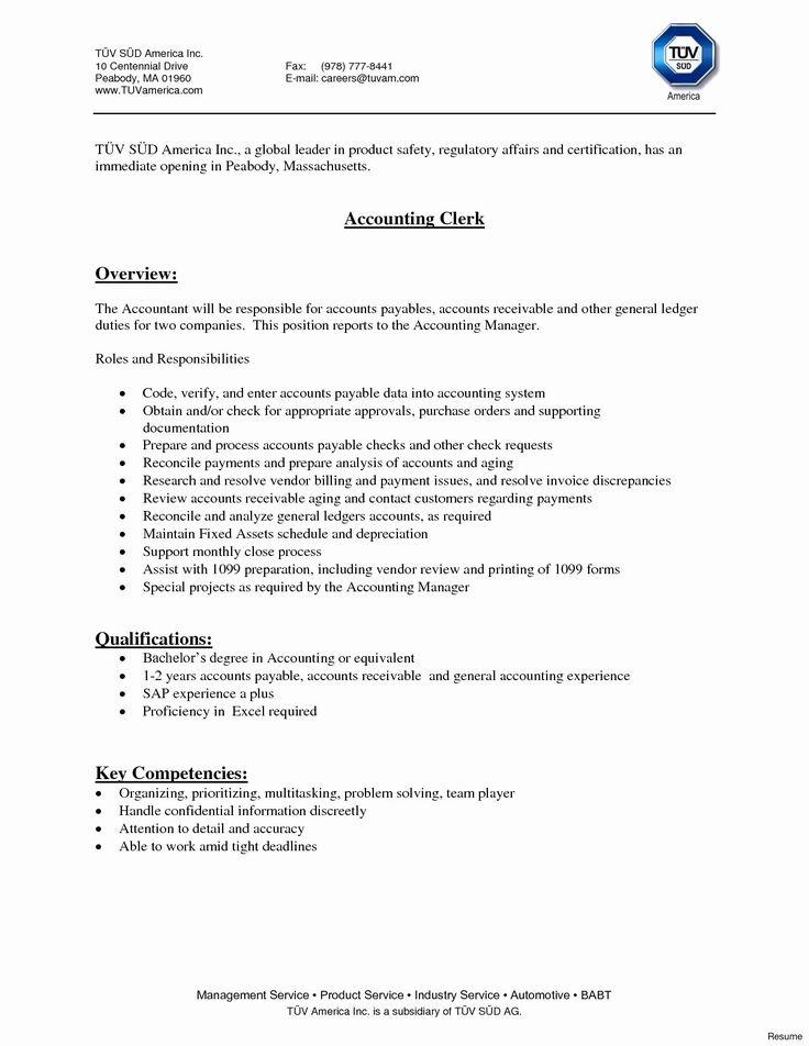 Accounts Payable Job Description Resume New 10 Account