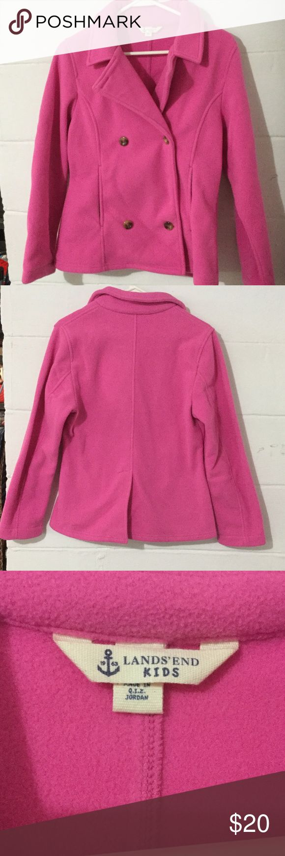 Land's End size large girl's peacoat Large girl's Land's End pink peacoat. Excellent condition Lands' End Jackets & Coats